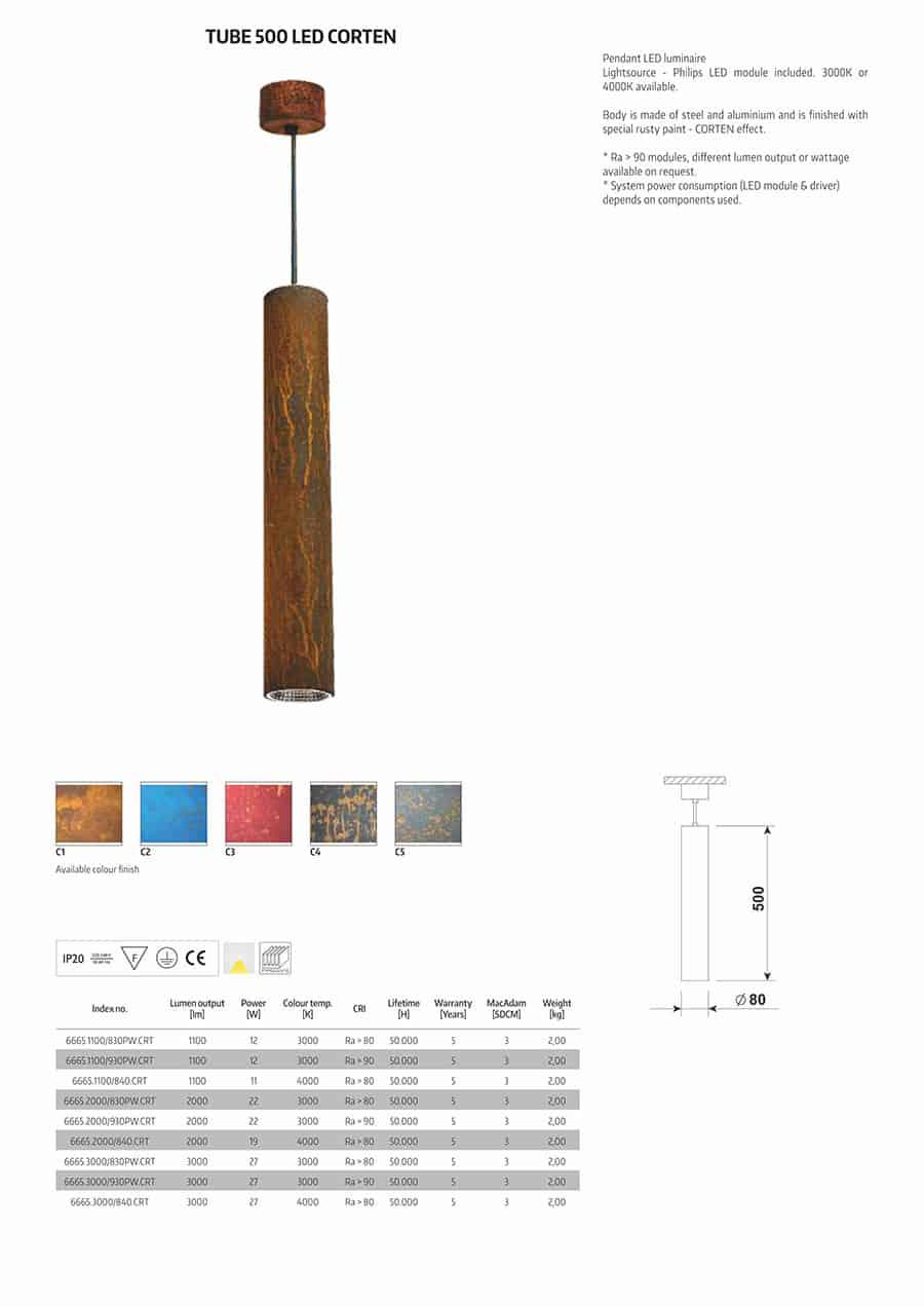 Karta katalogowa LAMPA INDUSTRIALNA Z EFEKTEM RDZY